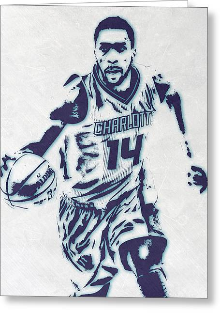 Michael Kidd-gilchrist Charlotte Hornets Pixel Art Greeting Card by Joe Hamilton