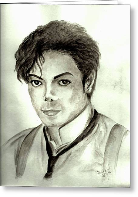 Mj Paintings Greeting Cards - Michael Greeting Card by Nicole Wang