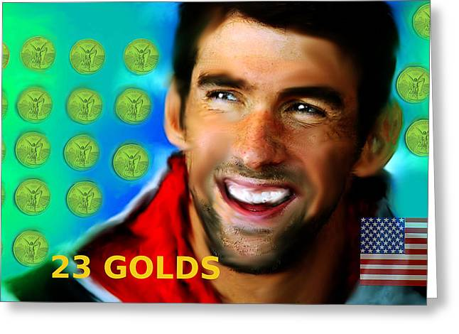 Michael Phelps Raining 23 Golds Greeting Card by Enki Art