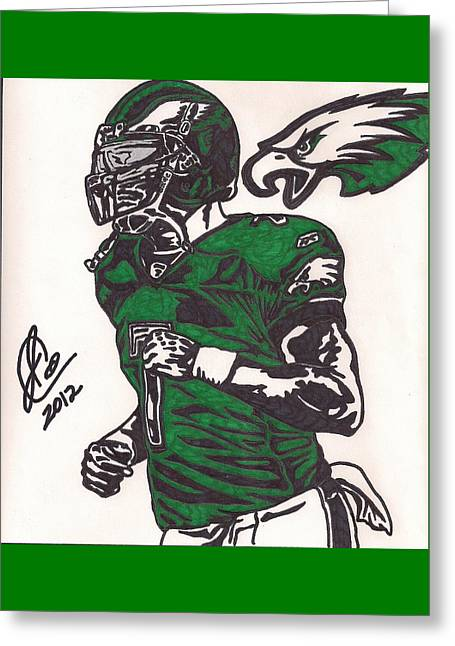 Greeting Card featuring the drawing Micheal Vick by Jeremiah Colley