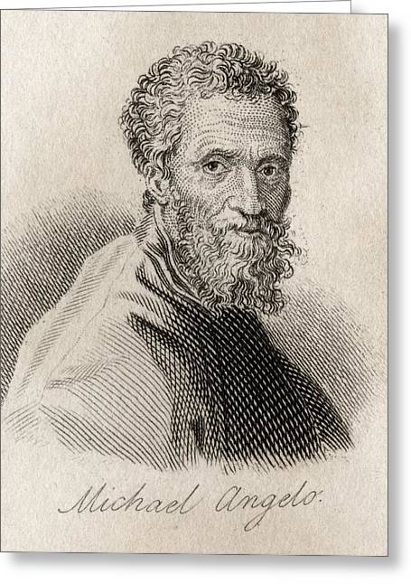 Michelangelo Buonarroti,1475-1564 Greeting Card by Vintage Design Pics