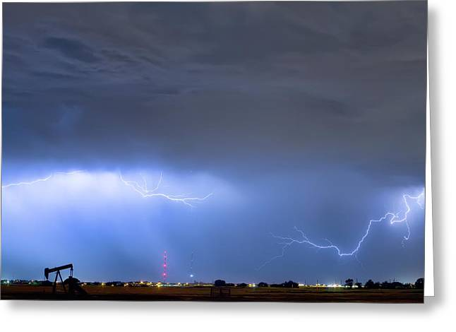 Greeting Card featuring the photograph Michelangelo Lightning Strikes Oil by James BO Insogna
