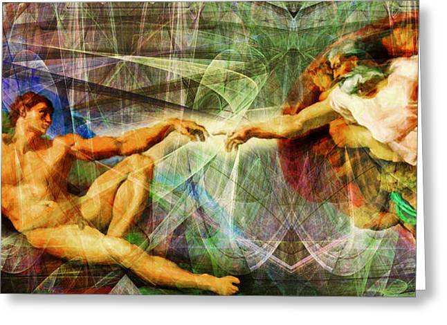 Michelangelo The Creation Of Adam In Abstract Space 20150622 Greeting Card by Wingsdomain Art and Photography