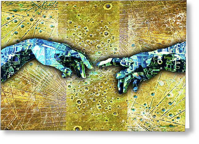 Greeting Card featuring the mixed media Michelangelo's Creation Of Man by Tony Rubino