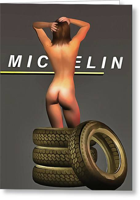 Greeting Card featuring the painting Michelin by Jan Keteleer
