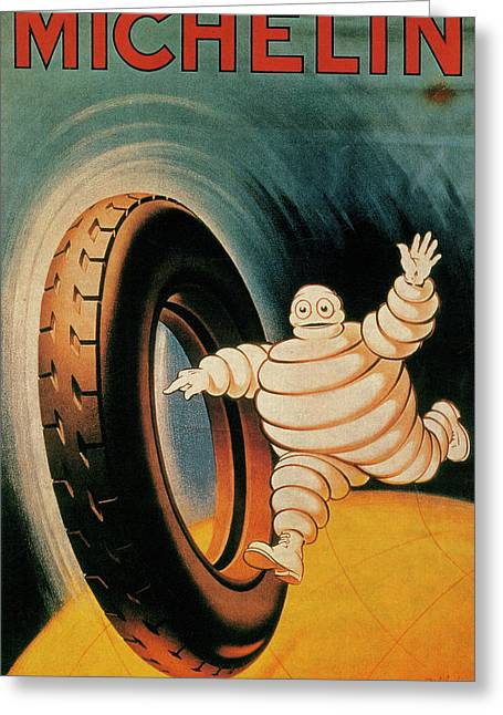 Michelin Tires Vintage Art Poster Greeting Card by Design Turnpike