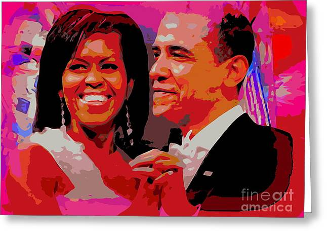 Michelle And Barack Greeting Card by Ed Weidman
