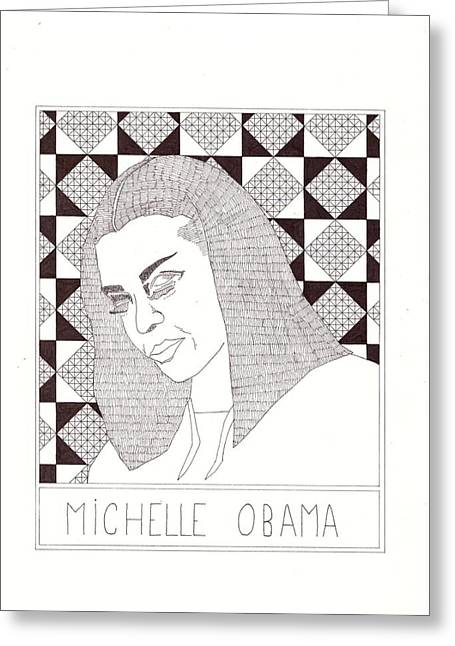 Michelle Obama Greeting Card by Benjamin Godard
