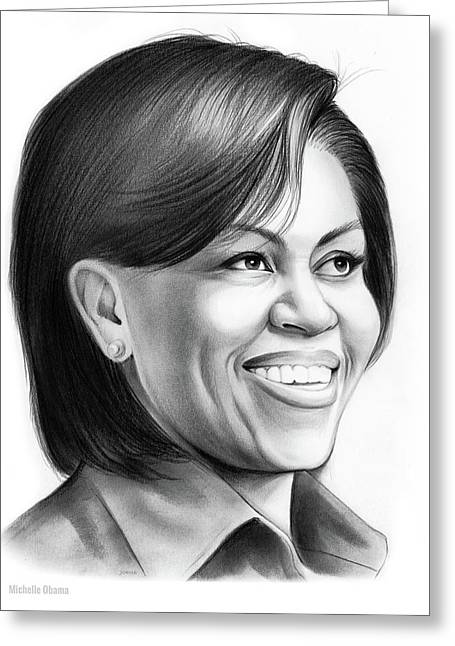 Michelle Obama Greeting Card by Greg Joens