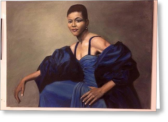 Michelle Obama, Oil On Canvas, Blue Dress Greeting Card by C Brian Coulthard