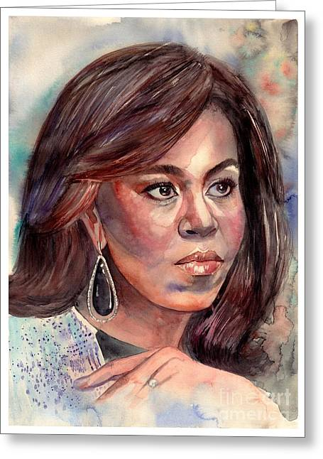 Michelle Obama Portrait Greeting Card