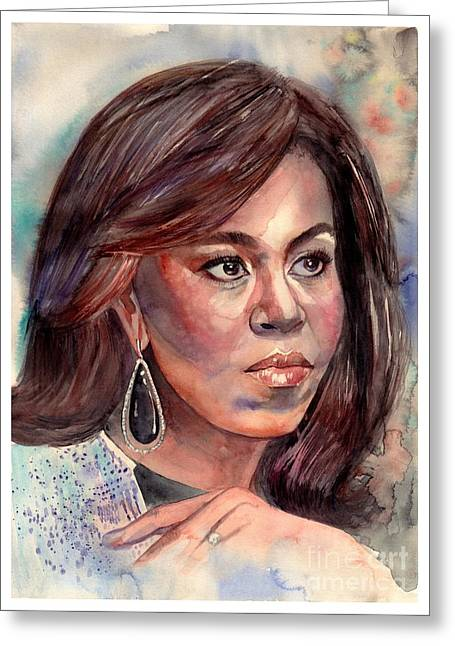 Michelle Obama Portrait Greeting Card