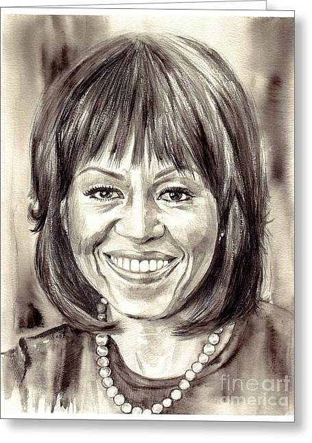 Michelle Obama Watercolor Portrait Greeting Card