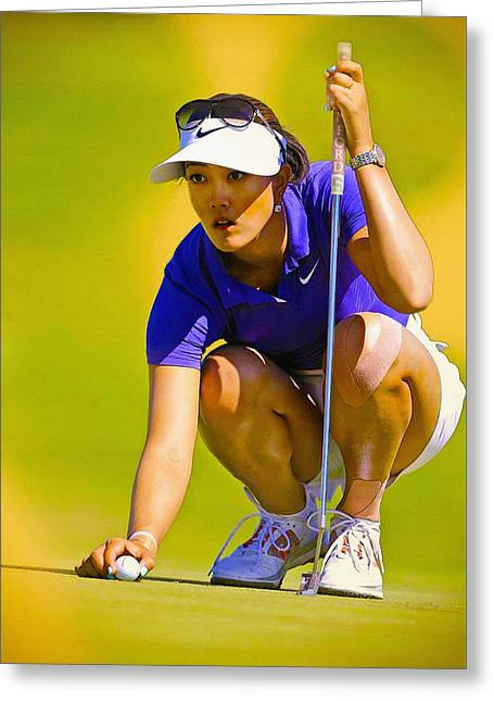 Michelle Wie Lines Up Her Putt  Greeting Card