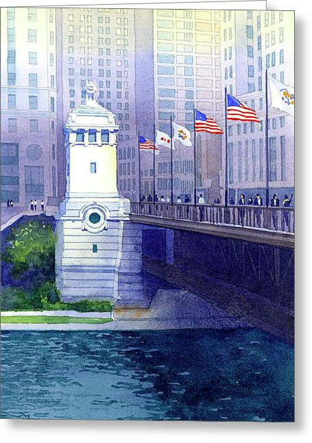 Michigan Avenue Bridge Greeting Card