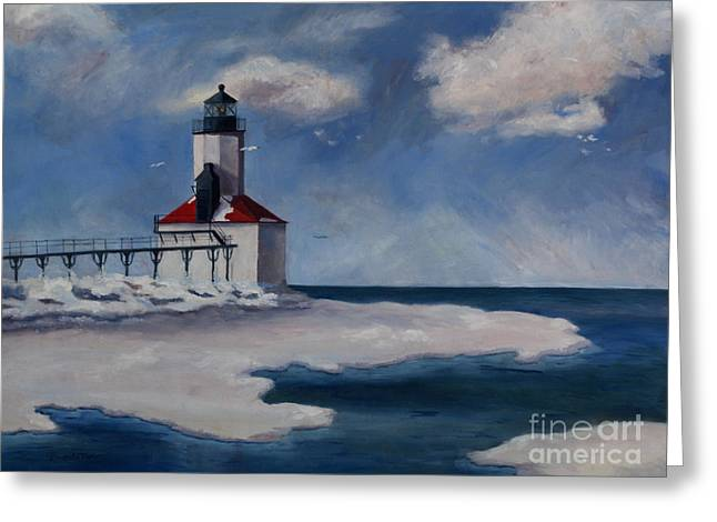 Greeting Card featuring the painting Michigan City Light by Brenda Thour
