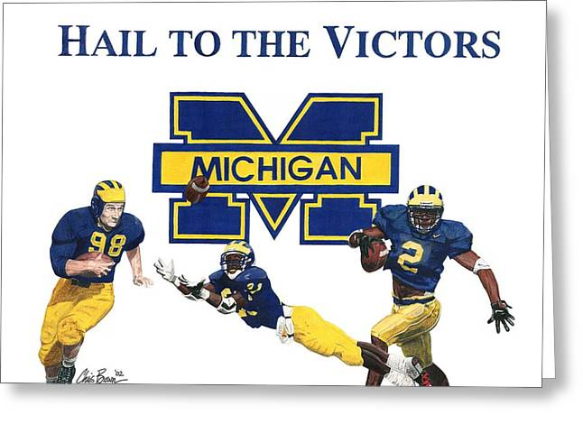 Michigan Heismans Greeting Card by Chris Brown