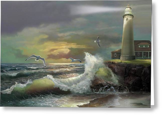 Michigan Seul Choix Point Lighthouse With An Angry Sea Greeting Card