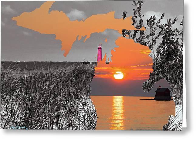 Michigan Silhouette 2 Greeting Card