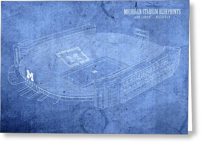 Michigan Stadium Wolverines Ann Arbor Football Field Big House Blueprints Greeting Card by Design Turnpike