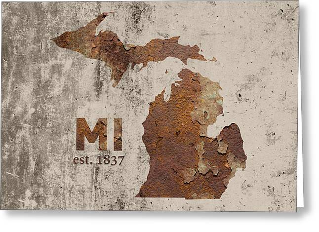 Michigan State Map Industrial Rusted Metal On Cement Wall With Founding Date Series 005 Greeting Card
