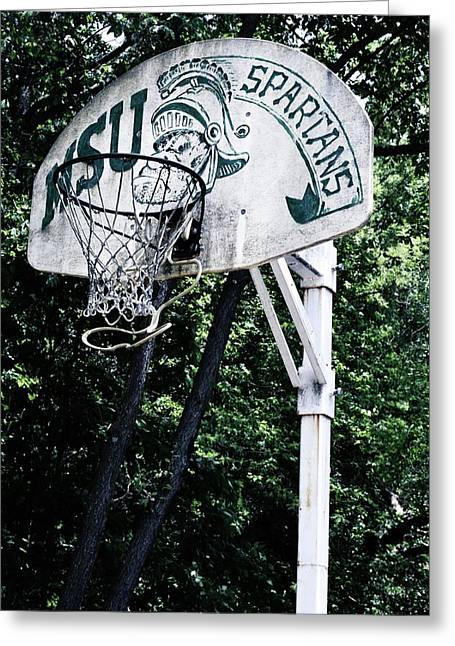 Michigan State Practice Hoop Greeting Card by Michelle Calkins