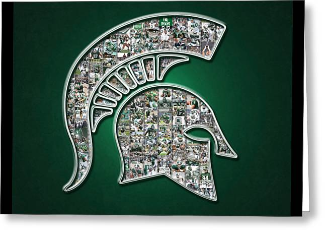 Michigan State Spartans Football Greeting Card by Fairchild Art Studio