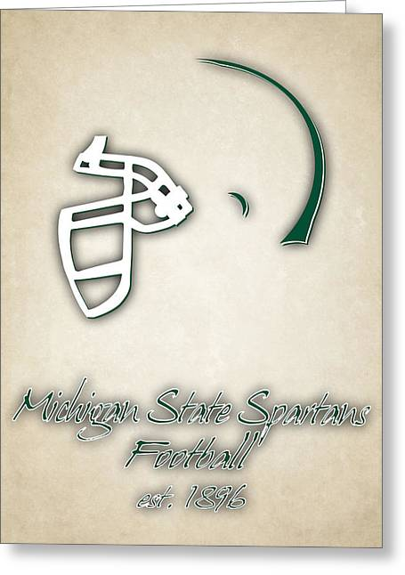 Michigan State Spartans Helmet 2 Greeting Card by Joe Hamilton