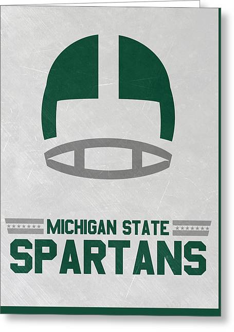 Michigan State Spartans Vintage Art Greeting Card by Joe Hamilton