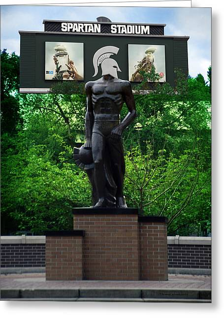 Michigan State University Spartan Statue Merge Vertical Greeting Card by Thomas Woolworth