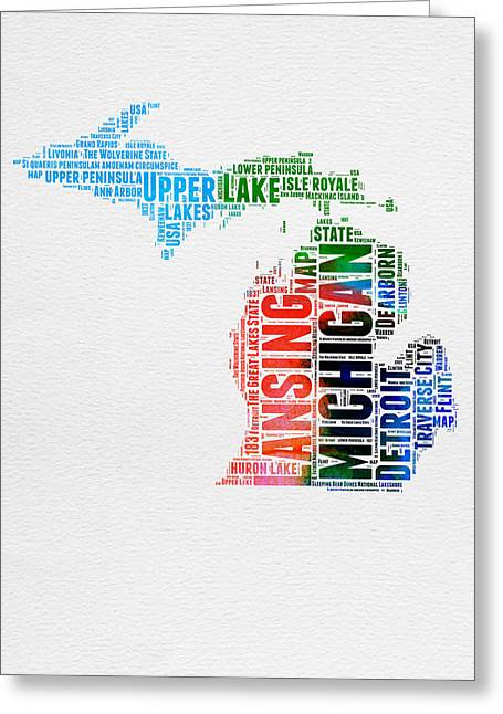 Michigan Watercolor Word Cloud Greeting Card by Naxart Studio