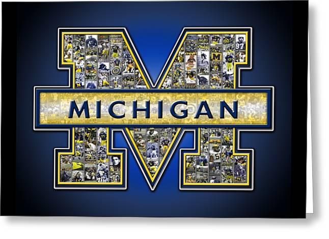 Michigan Wolverines Football Greeting Card by Fairchild Art Studio
