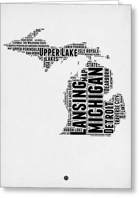 Michigan Word Cloud Map 2 Greeting Card by Naxart Studio