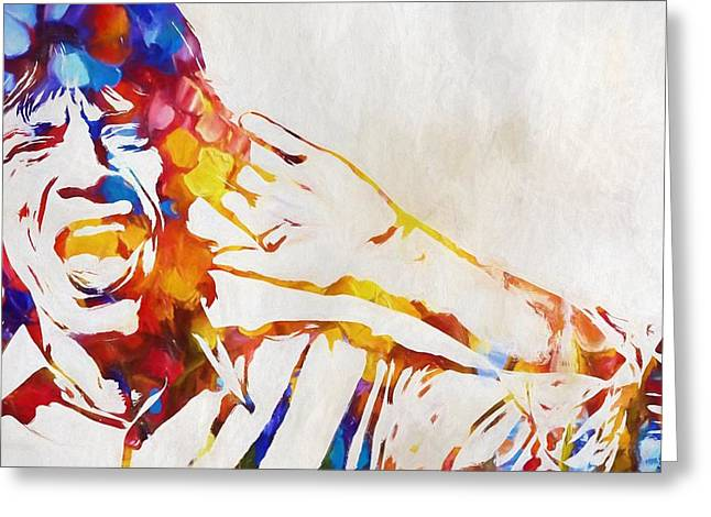 Mick Jagger Abstract Greeting Card by Dan Sproul