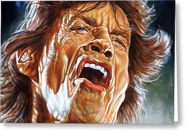 Mick Jagger - Rolling Stones Greeting Card by Spiros Soutsos