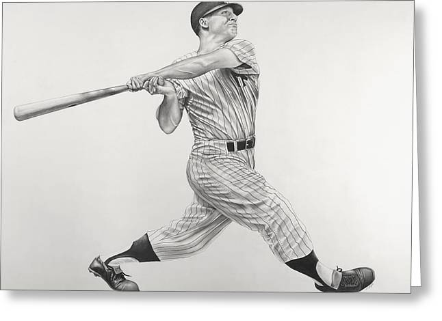Mickey Mantle Greeting Card by Jon Cotroneo