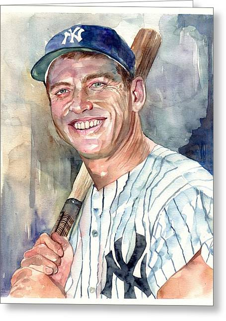 Mickey Mantle Portrait Greeting Card