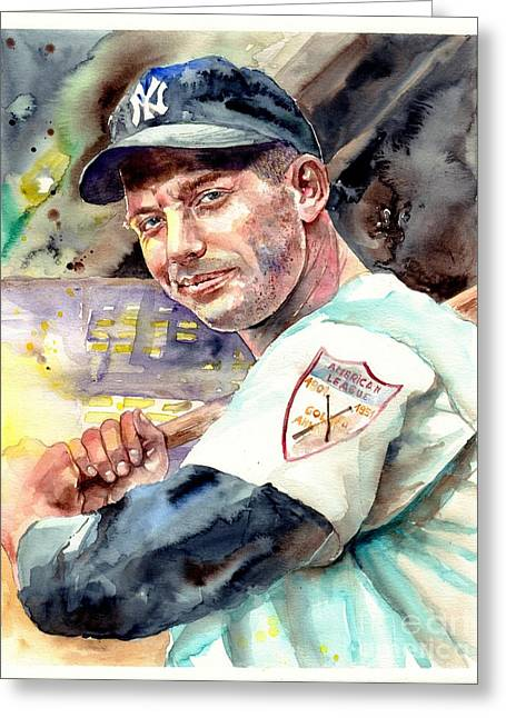 Mickey Mantle Watercolor Greeting Card
