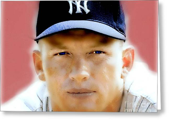 Mickey Mantle Greeting Card by Wbk