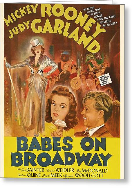 Mickey Rooney And Judy Garland - Babes On Broadway 1941 Greeting Card by Mountain Dreams