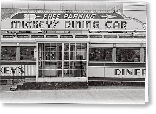 Mickey's Dining Car Greeting Card by Edward Fielding