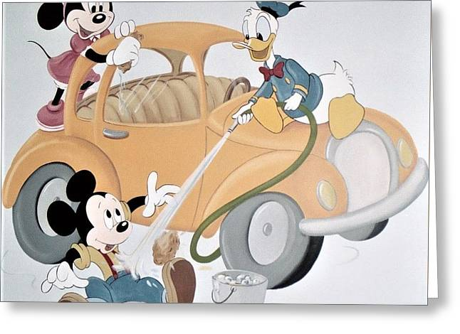 Micky,minnie And Donald On Car Greeting Card