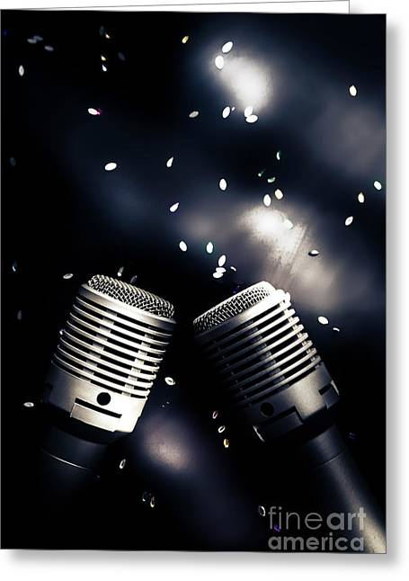 Microphone Club Greeting Card by Jorgo Photography - Wall Art Gallery