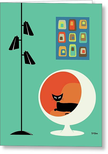 Greeting Card featuring the digital art Mid Century Mini Oblongs by Donna Mibus
