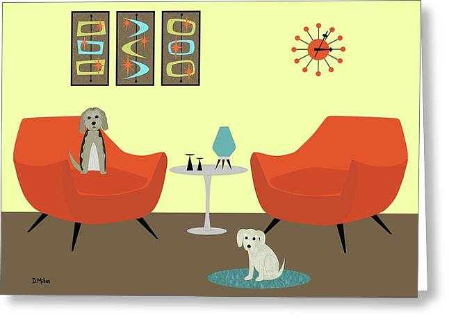 Mid Century Modern Dogs 1 Greeting Card