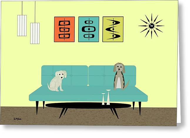 Mid Century Modern Dogs 2 Greeting Card
