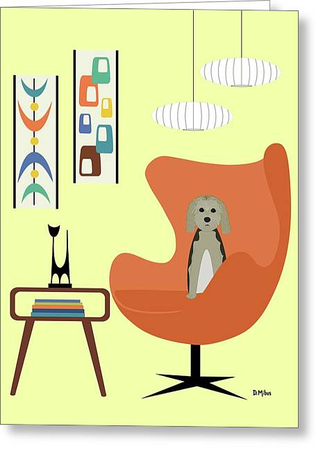 Mid Century Modern Dogs 3 Greeting Card