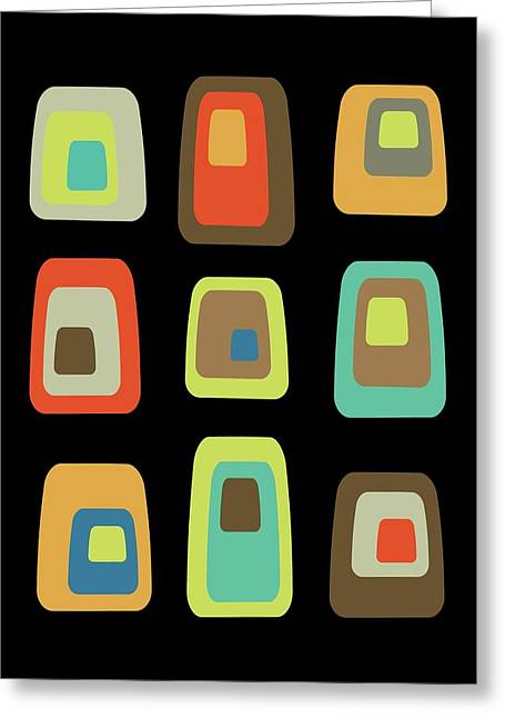Mid Century Modern Oblongs On Black Greeting Card