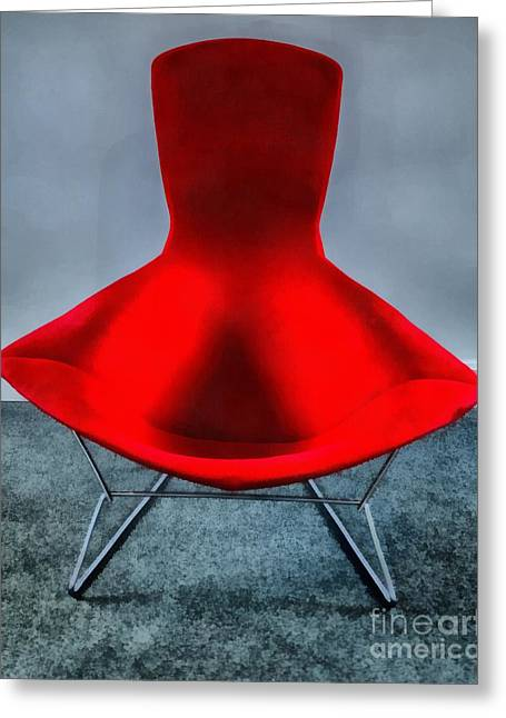 Mid Century Modern Red Chair Greeting Card by Edward Fielding