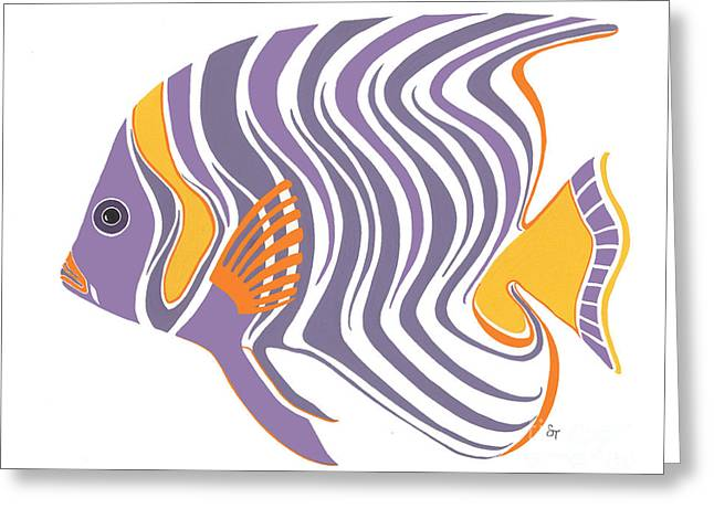 Mid Century Purple Fish Greeting Card